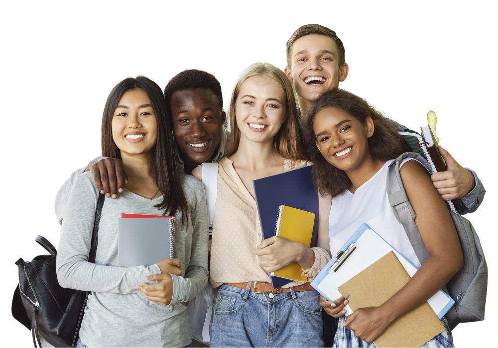 Diverse Group of Teens with school supplies